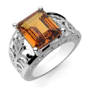 6.35ctw Genuine Citrine Solid 925 Sterling Silver Gemstone Ring (SJR10247)