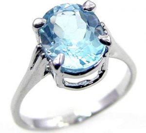 3.90ctw Genuine Sky Blue Topaz Solid 925 Sterling Silver Gemstone Ring (SJR10248)