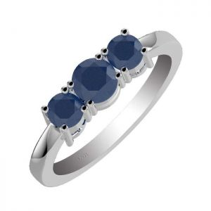 1.40ctw Genuine Sapphire Solid 925 Sterling Silver Gemstone Ring (SJR10251)