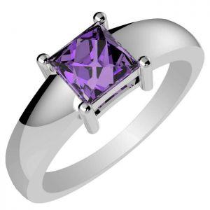 0.85ctw Genuine Amethyst Solid 925 Sterling Silver Gemstone Ring (SJR10255)