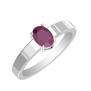 0.90ctw Genuine Ruby Solid 925 Sterling Silver Gemstone Ring (SJR10256)