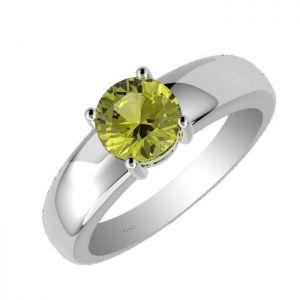 1.00ctw Genuine Peridot Solid 925 Sterling Silver Gemstone Ring (SJR10259)