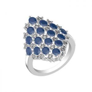 4.80ctw Genuine Sapphire Solid 925 Sterling Silver Gemstone Ring (SJR10262)
