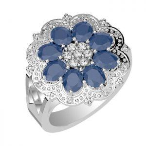 4.00ctw Genuine Sapphire Solid 925 Sterling Silver Gemstone Ring (SJR10266)