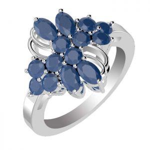 2.90ctw Genuine Sapphire Solid 925 Sterling Silver Gemstone Ring (SJR10270)
