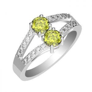 1.20ctw Genuine Peridot Solid 925 Sterling Silver Gemstone Ring (SJR10272)