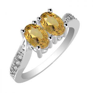 1.10ctw Genuine Citrine Solid 925 Sterling Silver Gemstone Ring (SJR10275)