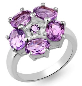 5.50ctw Genuine Amethyst Solid 925 Sterling Silver Gemstone Ring (SJR10276)