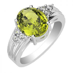 3.90ctw Genuine Peridot Solid 925 Sterling Silver Gemstone Ring (SJR10277)