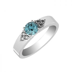 1.00ctw Genuine Swiss Blue Topaz Solid 925 Sterling Silver Gemstone Ring (SJR10281)