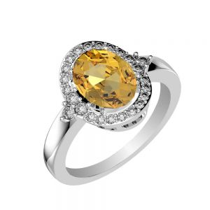 3.25ctw Genuine Citrine Solid 925 Sterling Silver Gemstone Ring (SJR10284)