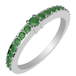 0.05ctw Genuine Emerald Solid 925 Sterling Silver Gemstone Ring (SJR10291)