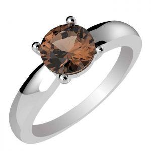 1.00ctw Genuine Smoky Quartz Solid 925 Sterling Silver Gemstone Ring (SJR10293)