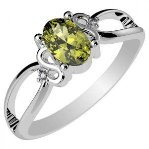 0.55ctw Genuine Peridot Solid 925 Sterling Silver Gemstone Ring (SJR10294)