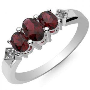 0.95ctw Genuine Garnet Solid 925 Sterling Silver Gemstone Ring (SJR10297)